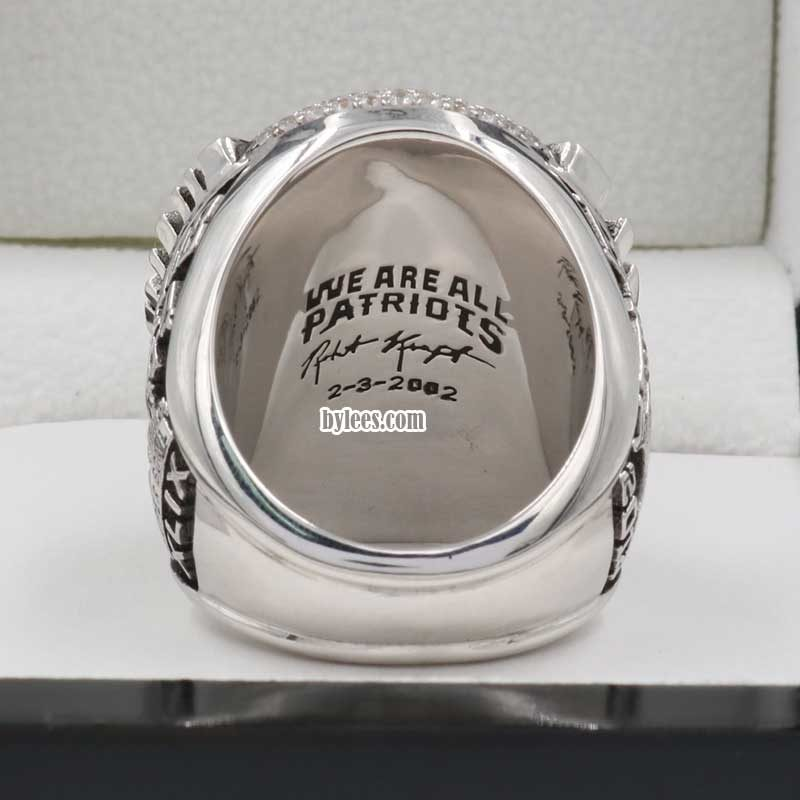 back view of new england patriots rings 2014