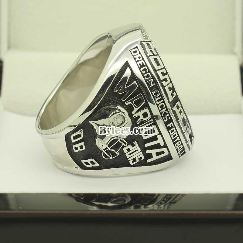 Left side view of 2015 Oregon Ducks Rose Bowl Championship Ring
