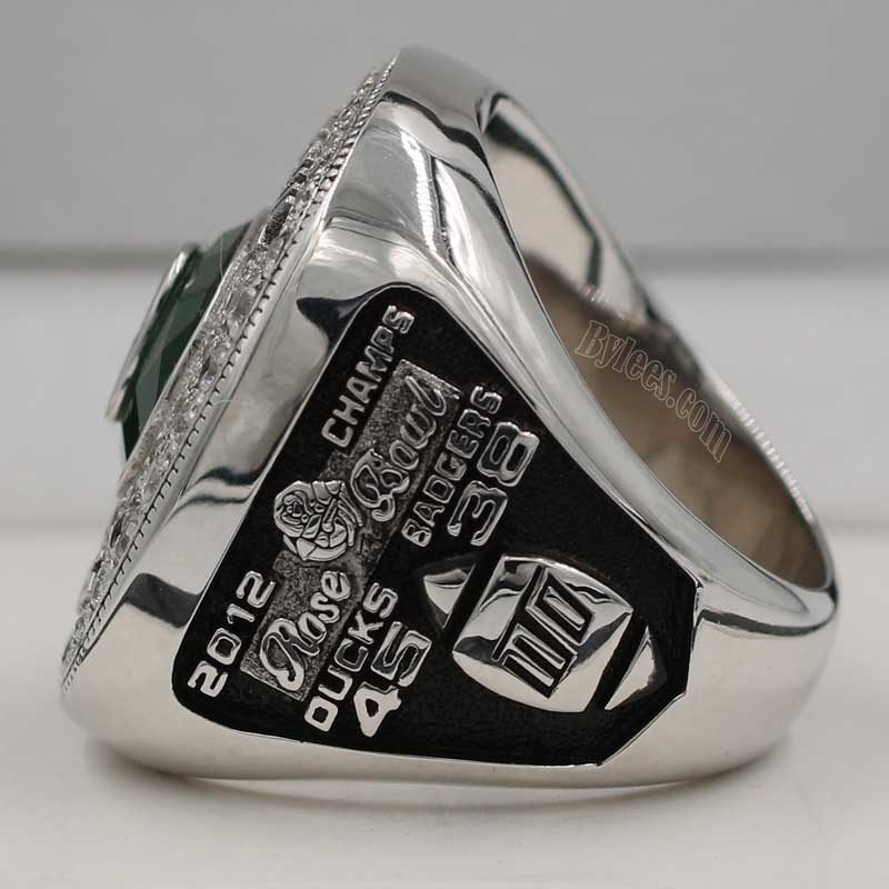 Left side view of 2012 Oregon Ducks Rose Bowl Championship Ring