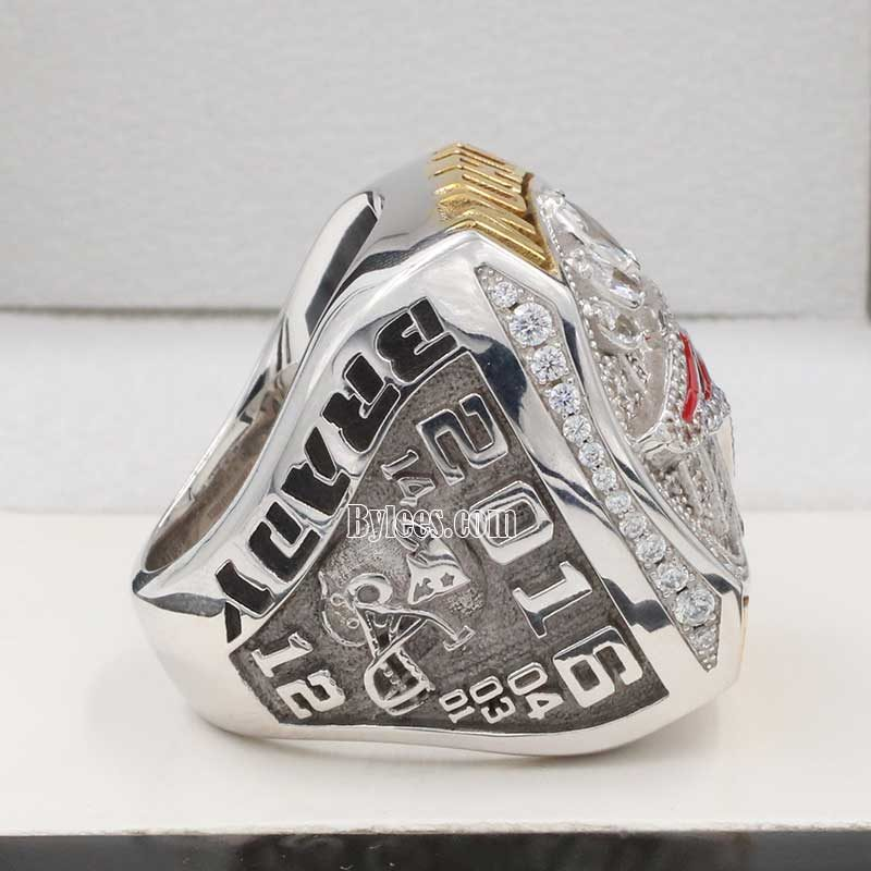 left side view of new england patriot super bowl fan championship ring 2016