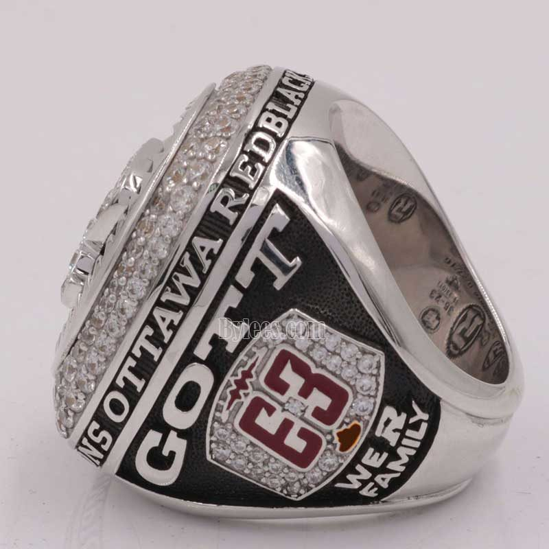 left side view of grey cup ring 2016