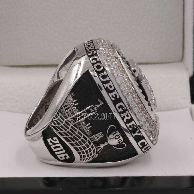 right side view of grey cup ring 2016