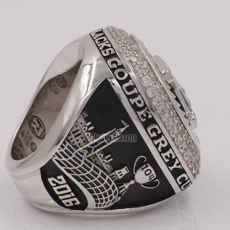 left side view of 2016 grey cup ring