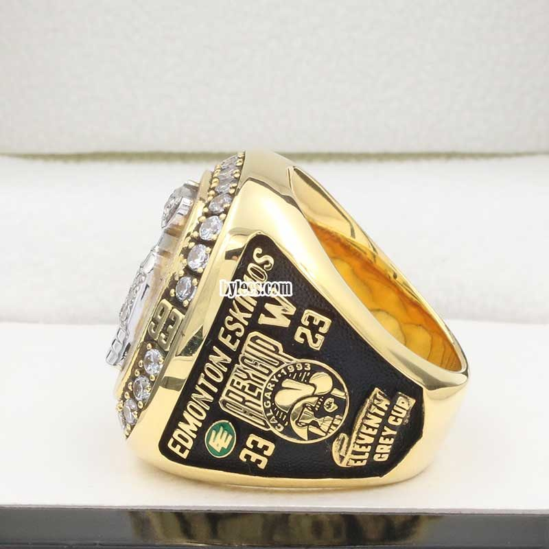 left side view of eskimos grey cup ring 1993