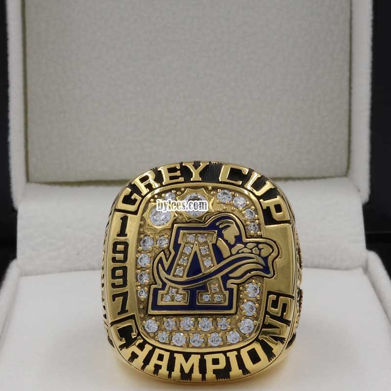frontview of toronto argonauts of grey cup rings 1997