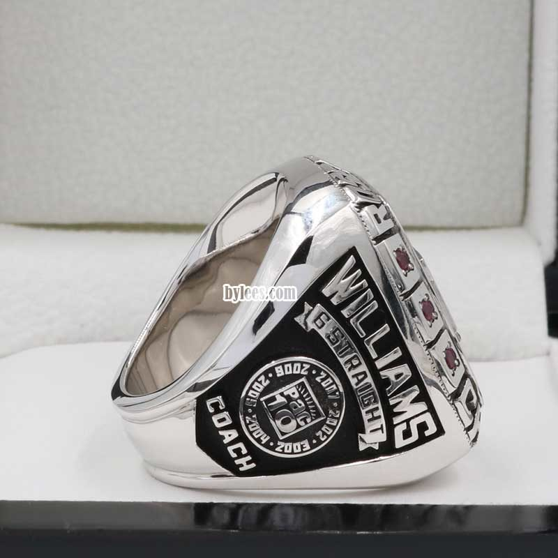 Side view of the 2008 USC TROJANS rose bowl Ring,six straight Pac-10 titles and six straight 11-win seasons.