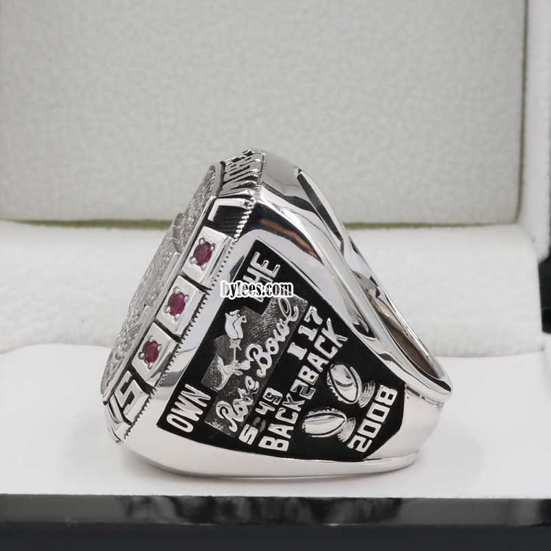 side view of 2008 USC Trojans Rose Bowl Championship Ring(showing the scores)